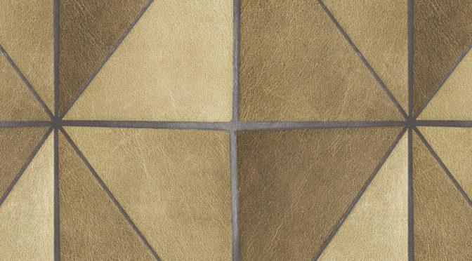 Nina Hancock Leather Geo Gold Wallpaper