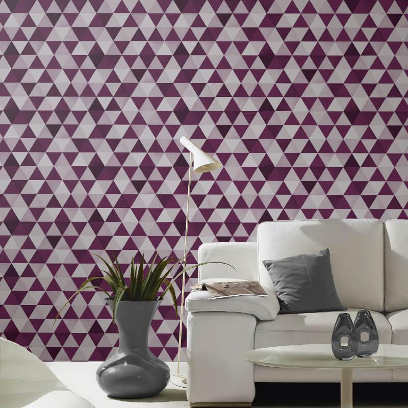 Graphics geo purple grey wallpaper p s international for International decor uk