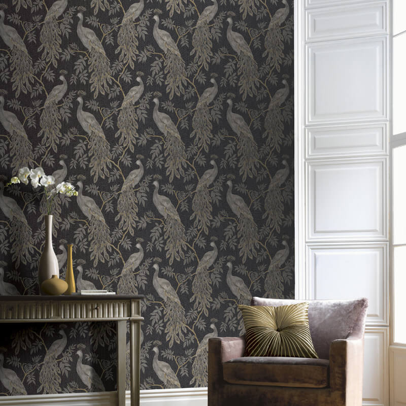 Lazzaro Black Gold Glitter Wallpaper Arthouse Katarina