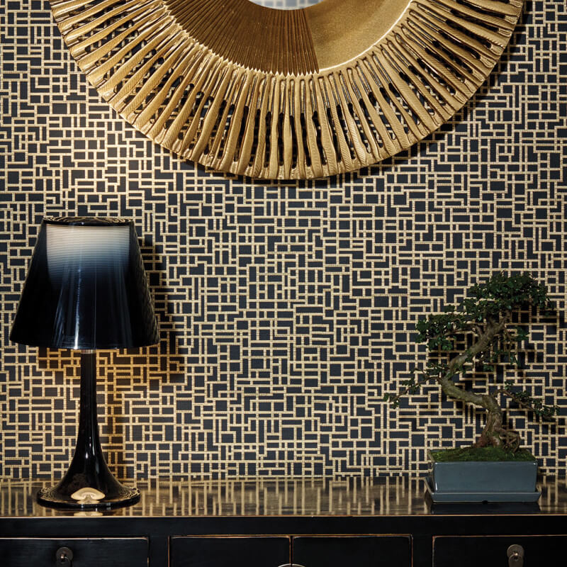 Satoni Geo Black Gold Wallpaper Arthouse Eastern Alchemy