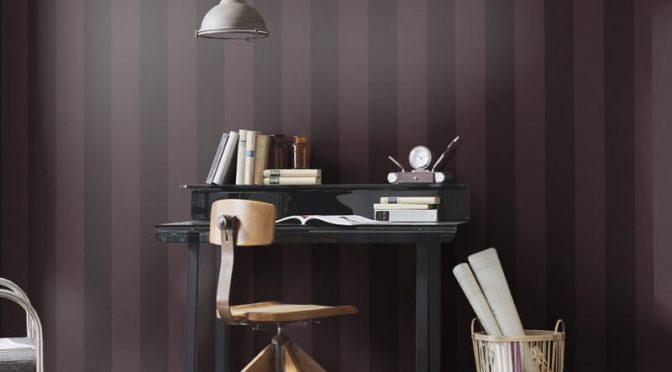 Erismann Cassiopeia Striped Plum Wallpaper