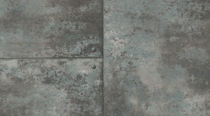 Nina Hancock Metal Panel Steel Blue Wallpaper