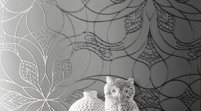 Muriva Eve Floral Gunmetal Metallic Wallpaper