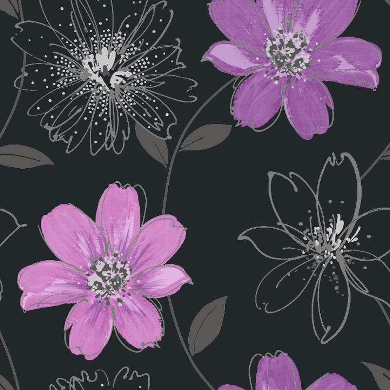 Arthouse samba motif wallpaper in black and purple for Purple and grey wallpaper