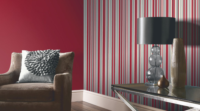 Arthouse Sophia Stripe Wallpaper in Red