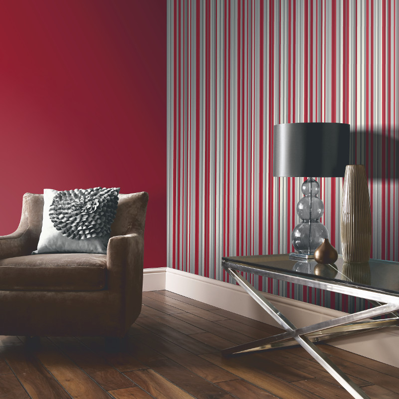 Arthouse sophia stripe wallpaper in red for Red wallpaper designs for living room