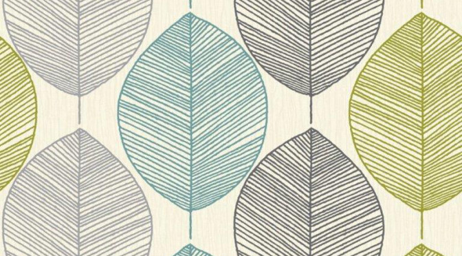 Arthouse Retro Leaf Wallpaper in Teal and Green
