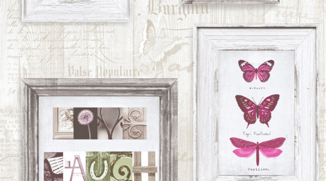 Muriva Live Laugh Love Wallpaper in Pink