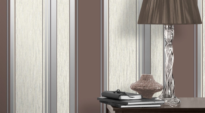 Vymura Synergy Glitter Stripe Wallpaper – Chocolate Brown