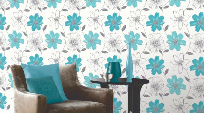 Arthouse Samba Motif Wallpaper – Aqua Blue and Silver