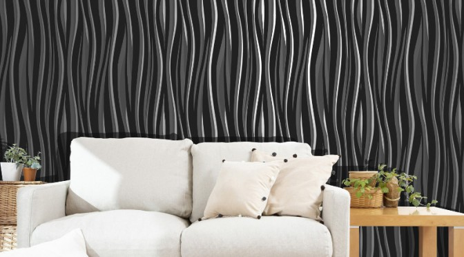 Vymura wave glitter suede effect wallpaper for Black feature wall living room