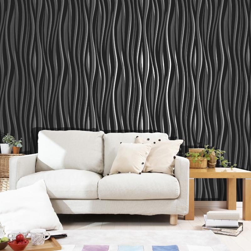 Vymura Wave Glitter Suede Effect Wallpaper : Vymura Wave Glitter Suede Effect Wallpaper in Black from godecorating.co.uk size 800 x 800 jpeg 164kB