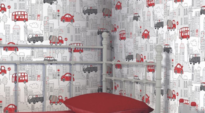 Arthouse Motor Mania Opera Fun Wallpaper – Red and Black