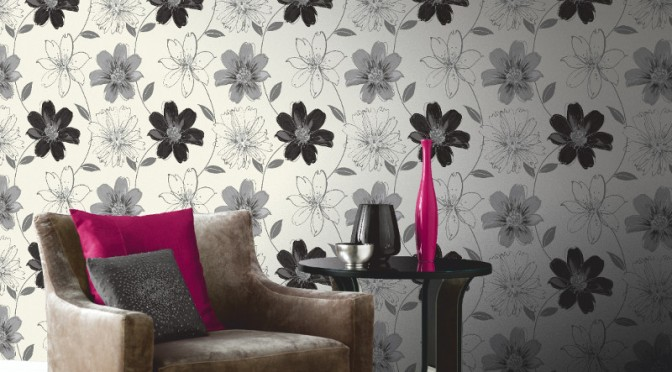 Arthouse Samba Motif Wallpaper – Black and White