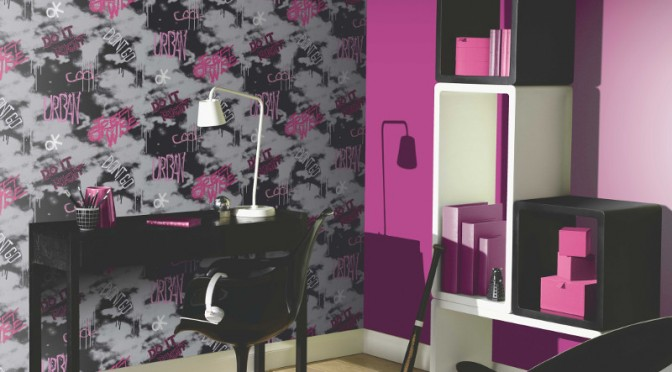 The Arthouse Street Wise Graffiti Wallpaper – Pink, Silver and Black