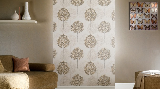 Arthouse Boulevard Trees Wallpaper – Silver and Beige