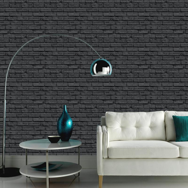 Arthouse opera brick wallpaper black for Black brick wallpaper bedroom