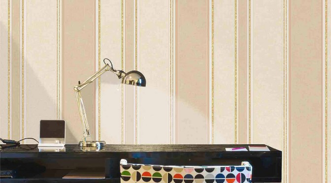 Coloroll Feathers Mallory Stripe Wallpaper – Gold Effect