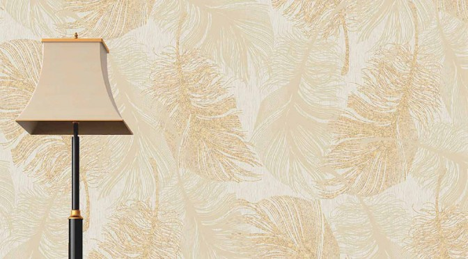 Coloroll Feathers Wallpaper – Gold Effect
