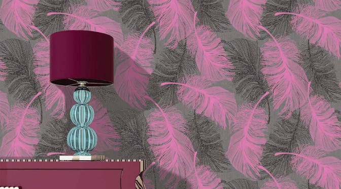 Coloroll Feathers Wallpaper in Can-Can Pink