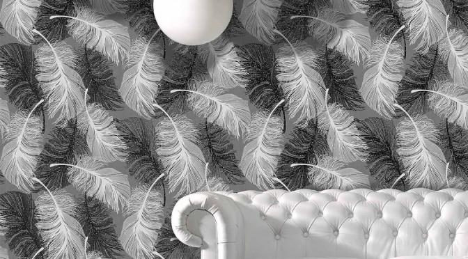 Coloroll Feathers Wallpaper – Monochrome