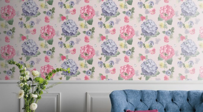Arthouse Annabelle Flower Motif Wallpaper – Citrus
