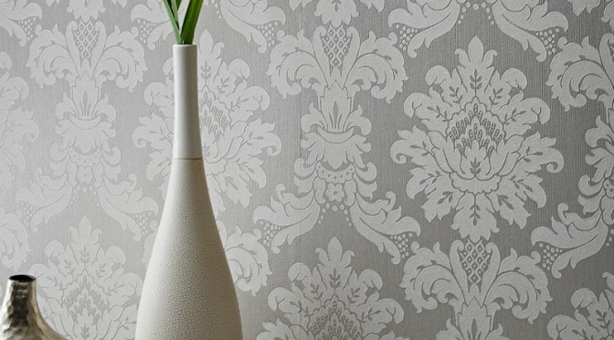 Arthouse Messina Damask Wallpaper – Silver
