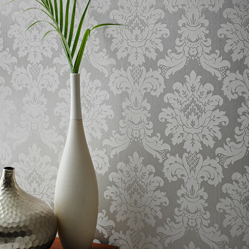 Arthouse Messina Damask Wallpaper Silver