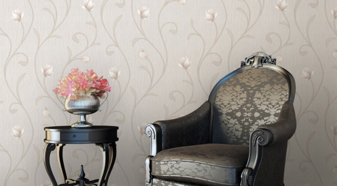 Muriva Serafina Floral Trail Glitter Wallpaper – Bone