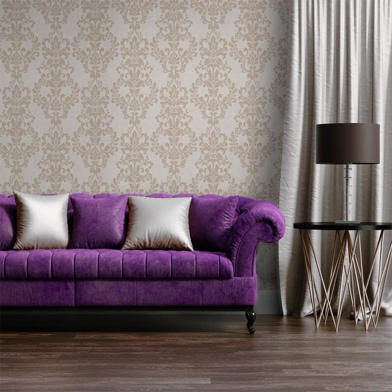 Muriva Sparkle Wallpaper Bronze: Muriva Serafina Damask Glitter Wallpaper