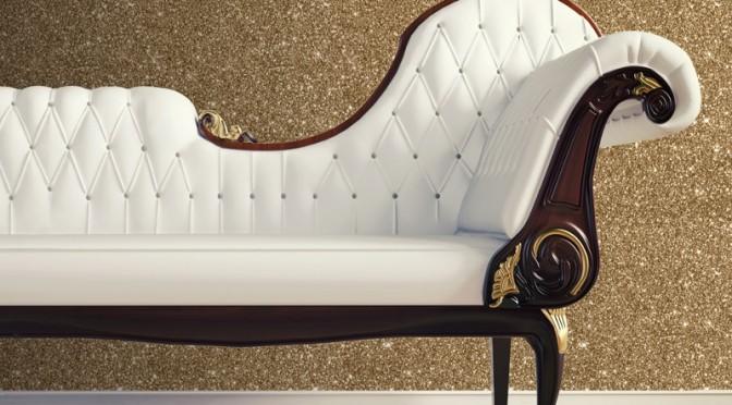 Muriva Sparkle Plain Glitter Wallpaper – Gold