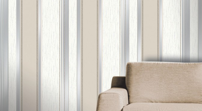 Vymura Synergy Glitter Stripe Wallpaper – Taupe and Silver
