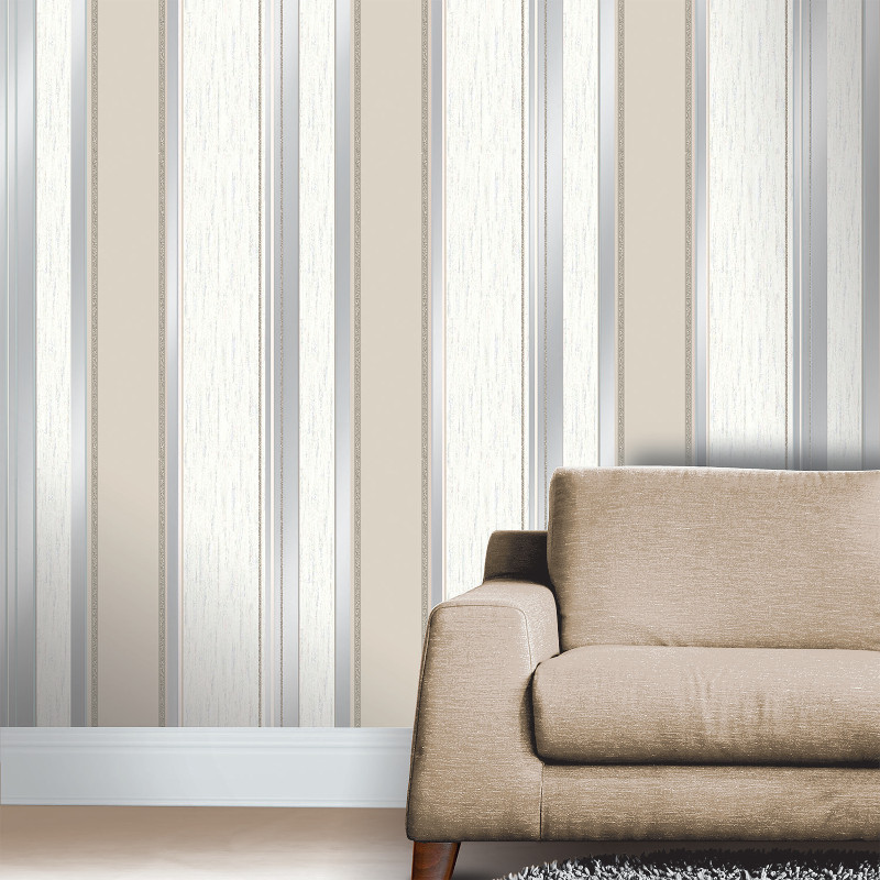 Vymura synergy glitter stripe wallpaper taupe and silver for Taupe wallpaper living room