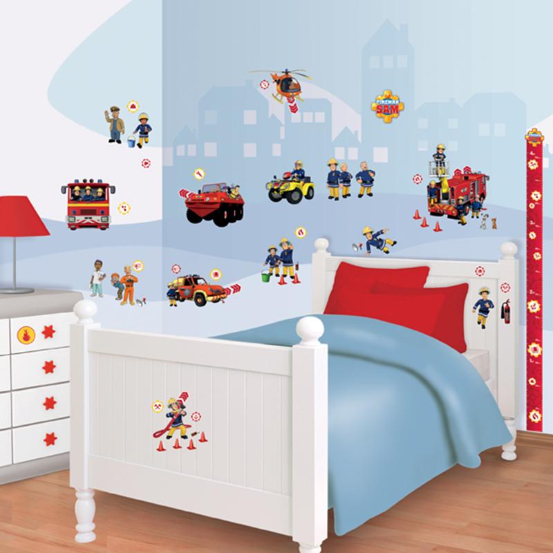 Fireman Sam Bedroom Accessories Double Bedroom Design Ideas Blue Wall Art Bedroom Bedroom Colour Design 2015: Walltastic Fireman Sam Room Decor Kit