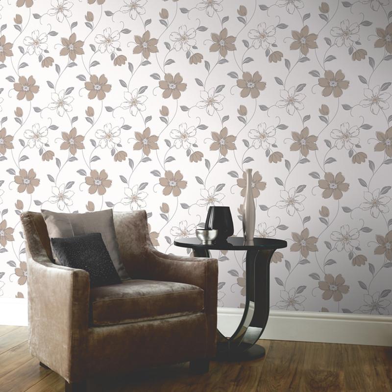 Arthouse anouska floral wallpaper taupe - Art house wallpaper uk ...