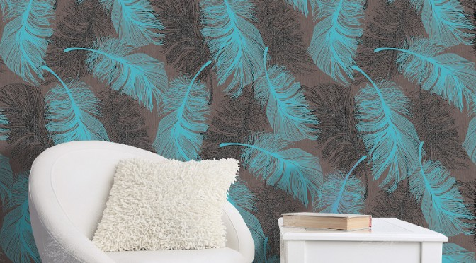 Coloroll Feathers Wallpaper – Chocolate and Teal