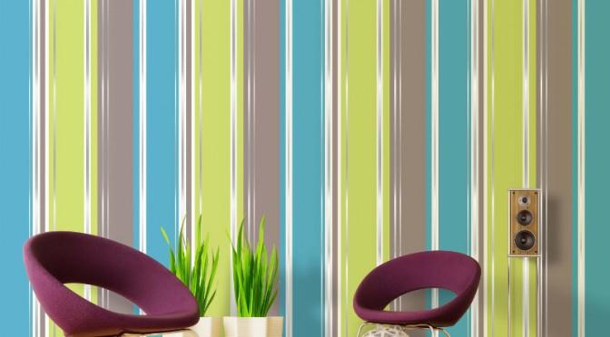 Coloroll Salsa Stripe Wallpaper Lime Chocolate