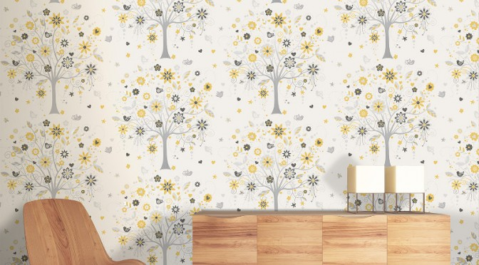 Coloroll Tree Of Life Wallpaper Yellow