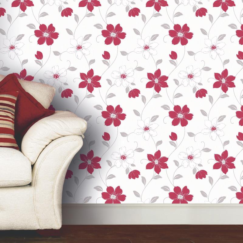 Arthouse anouska floral wallpaper red - Art house wallpaper uk ...