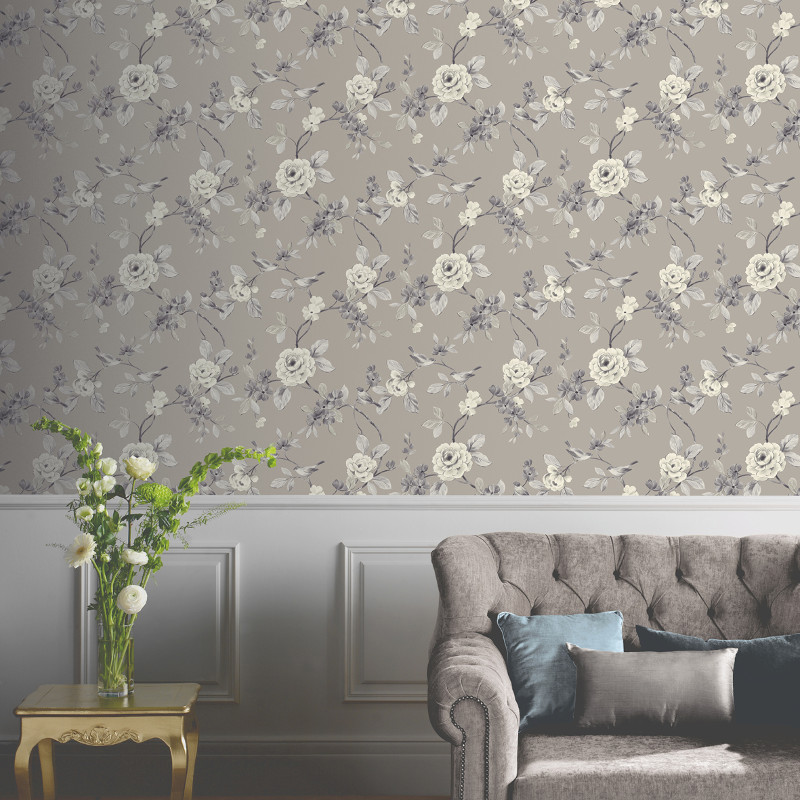 Arthouse lara wallpaper taupe for Taupe wallpaper living room
