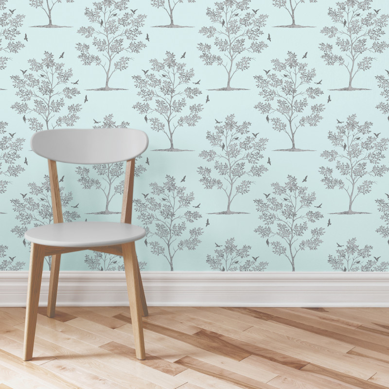 Fine decor trees and bird wallpaper teal and silver my cms for Bird wallpaper home decor