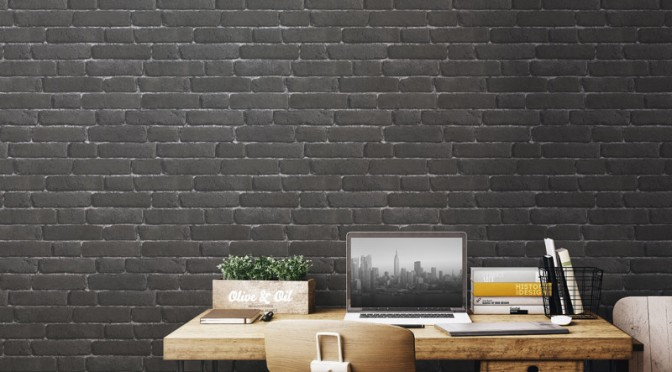 Muriva Brick 3D Effect Wallpaper – Charcoal