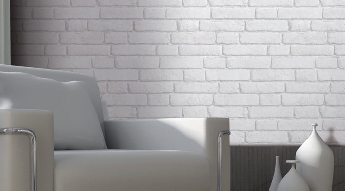 Muriva Brick 3D Effect Wallpaper – White