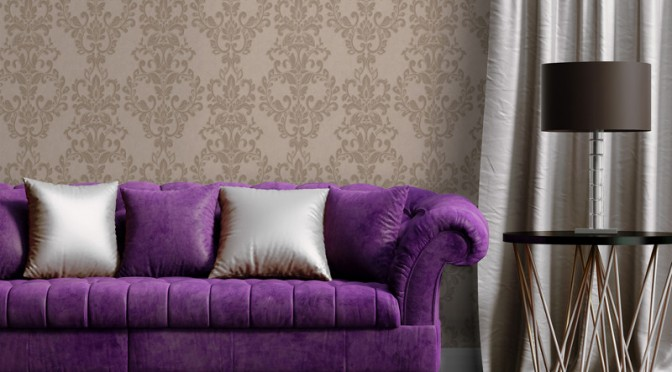 Muriva Serafina Damask Glitter Wallpaper – Bronze