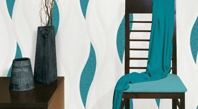 Direct Wallpapers Wave Glitter Wallpaper – Teal