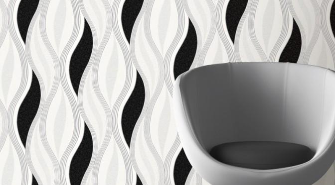 Direct Wallpapers Wave Glitter Wallpaper – Black
