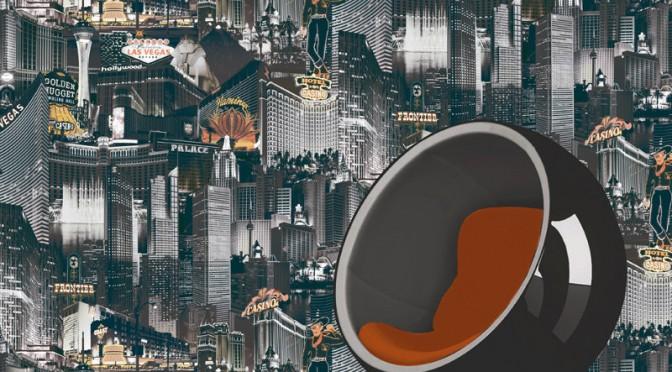 Muriva Las Vegas Black, White & Orange Wallpaper