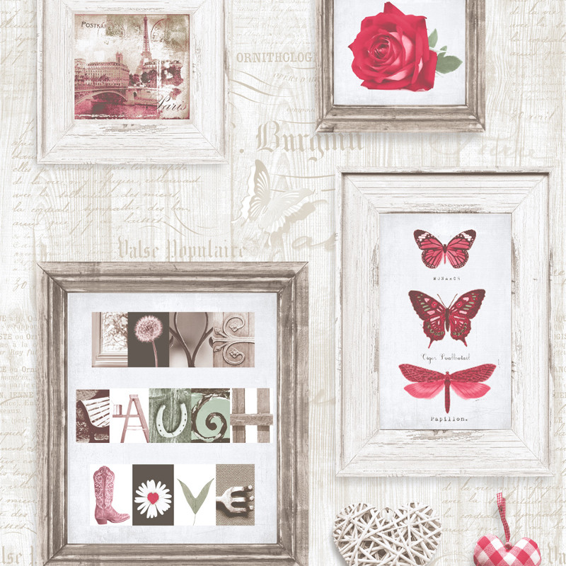 Muriva Live Laugh Love Wallpaper Red