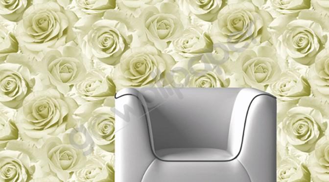 Muriva Madison Rose Floral Bloom Wallpaper – Green