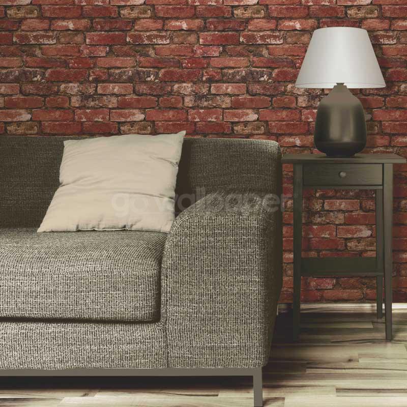 Fine decor rustic brick wallpaper red terracotta Wallpaper for home decor
